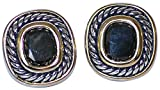 DESIGNER INSPIRED, JOSEPH ESPOSITO TWO TONE CLIP EARRING WITH BLACK CRYSTAL CENTER