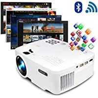 ERISAN Projector Video Home TV Theater, LED Android 6.0 WiFi Bluetooth, 220 ANSI Lumen, Support 1080P Full HD, 2018 Updated Hi-Fi Speaker, Quieter Fan, Mini Smart Video Beam, Multimedia Party Games