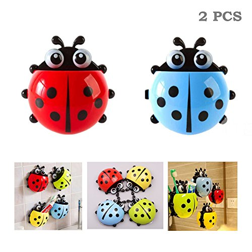 SUMMERDAISY 2 Sets of Ladybug Suction Toothbrush Holder Toothbrush Stuff Wall Suction Holder for Kids Bathroom Blue&Red