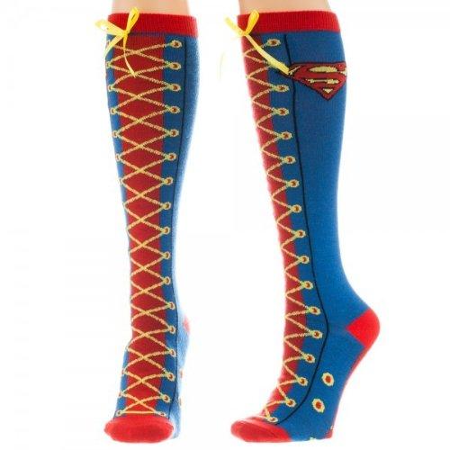 Supergirl Knee High Socks (Animewild DC Comics Superman Faux Lace Up Knee High)