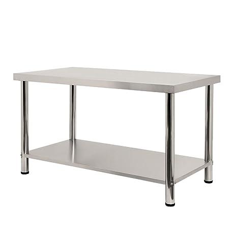 LARS360 Mesa de Trabajo de Cocina acero inoxidable, para gastronomía, preparación de alimentos, cocina, bar, restaurante, metal, L x B x H: 150 * 60 * ...