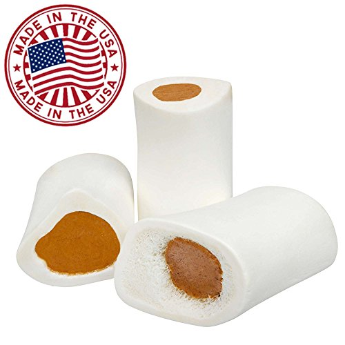 Filled Dog Bones (Flavors: Peanut Butter, Cheese, Bacon, Beef, etc.) Made in USA Stuffed Bulk 3 to 6'' Femur Dog Dental Treats & Chews, American Made (Peanut Butter Filling, Small (3'') - 50 Pack) by Pawstruck