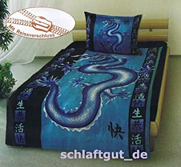 Blue Dragon Drache Glanz Satin Bettwäsche 135 X 200 Amazonde