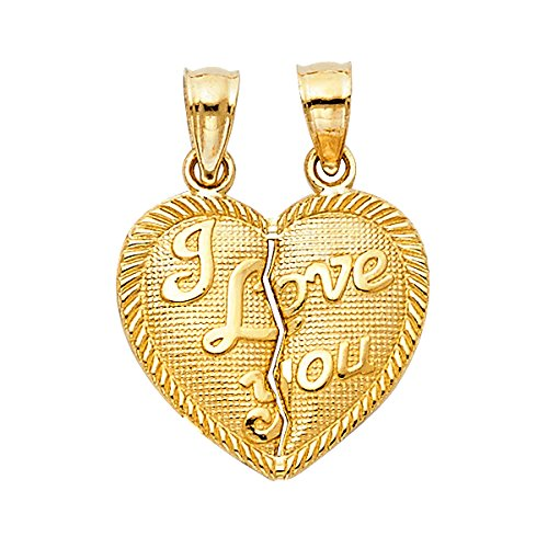 14K Yellow Gold Small ''I Love You'' Couple Broken Heart Pendant - 17MM X 15MM by Top Gold & Diamond Jewelry