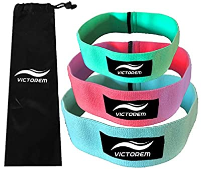 VICTOREM Hip Bands - Set of 3 - Thigh - Hip Resistance - Booty Exercise Resistance Bands - Low, Medium and Heavy Loop Set - Stretching, Lifting, Squatting (Mint, Coral, Sky Blue)