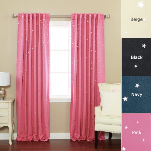 (Best Home Fashion Star Print Thermal Insulated Blackout Curtains - Back Tab/ Rod Pocket - Pink - 52