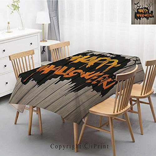 Natural Cotton Linen Rectangle Tablecloth Garden Botanic Print Pattern Country Rustic Village Burlap Table Cover Cloth Art,55x87 Inch,Halloween Decorations,Happy Graffiti Style Lettering on Rustic Woo]()
