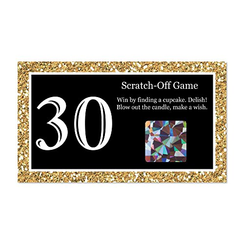 Big Dot of Happiness Adult 30th Birthday - Gold - Birthday Party Game Scratch Off Cards - 22 Count ()