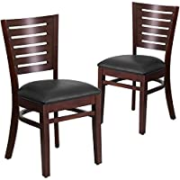 Flash Furniture 2 Pk. Darby Series Slat Back Walnut Wood Restaurant Chair - Black Vinyl Seat