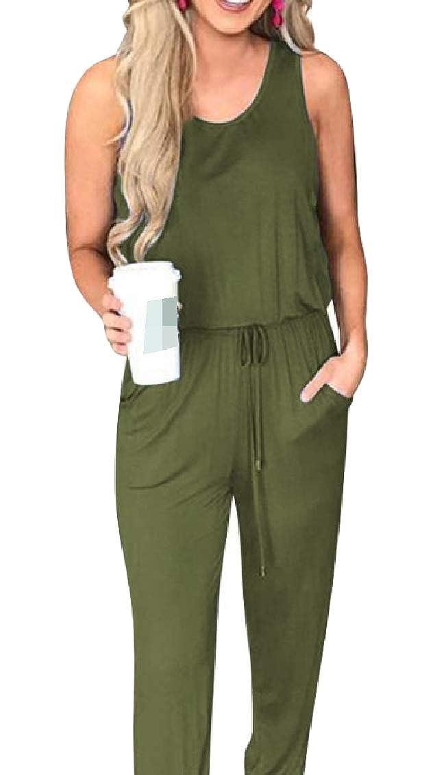 Coolred-Women Sleeveless Pockets Strappy Drawstring Bandage Lounge Romper Pants