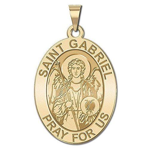 Custom Engraved Saint Gabriel Religious Medal - 3/4 Inch X 1 Inch -Solid 14K White (Gold Saint Gabriel Medal)