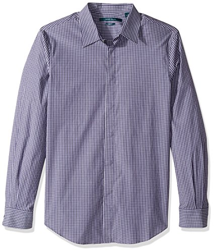 Perry Ellis Men's Long Sleeve Horizontal Multi-Color Stripe Shirt, Blueprint Large