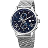 Akribos XXIV Men's Swiss Quartz Multi-function Blue Sunray Dial Silver-Tone Mesh Stainless Steel Bracelet Watch AK905SSBU