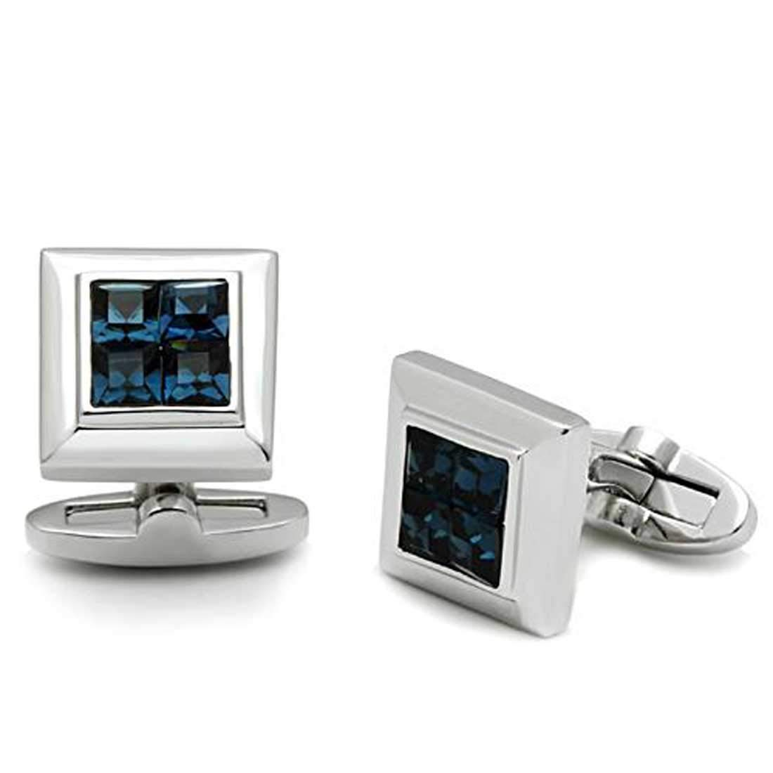 Drop of Silver Montana Rhodium Plated Top Grade Crystal Cuff Links