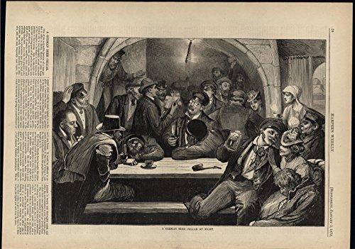 (German Beer Cellar at Night Drunken Merriment 1875 antique wood engraved print)