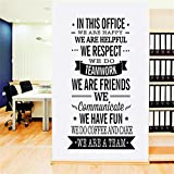 22inch x 47inch Black Vinyl Quotes in This Office, We are A Team Inspirational Unity Wall Decals Removable Vinyl Lettering Art Decor Wall Stickers for Home Walls Bedroom Offices Classroom Nursery