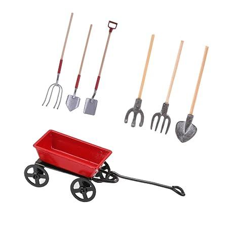 Homyl Escala 1:12 Miniaturas Carrito de Metal y 2 Set de Herramienta Agrícola de