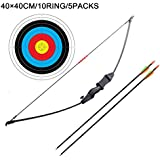 Outdoor Youth Recurve Bow and Arrow Set Children Junior Archery Training Toy for Kid Teams Game Gift(20LB,2×Arrows,5×Target Faces) ¡
