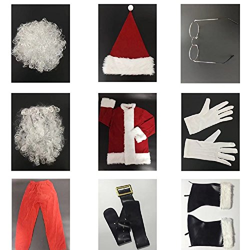 10 Pcs Complete Deluxe Velvet Christmas Santa Claus Costume Suit Adult (XL, Red) by Zollzirr (Image #5)