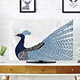 """magnificent artistic wall art iPrint LCD TV Cover Multi Style,Animal,Exotic Wild Magnificent Bird with Feather Peacock Modern Image Artwork,Dark Blue Blue and Black,Customizable Design Compatible 55"""" TV"""
