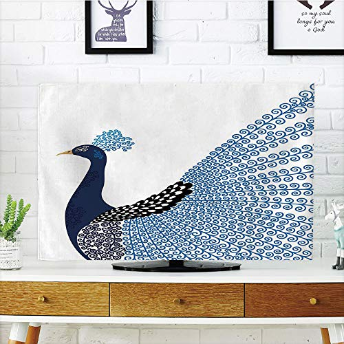 """iPrint LCD TV Cover Multi Style,Animal,Exotic Wild Magnificent Bird with Feather Peacock Modern Image Artwork,Dark Blue Blue and Black,Customizable Design Compatible 55"""" TV"""