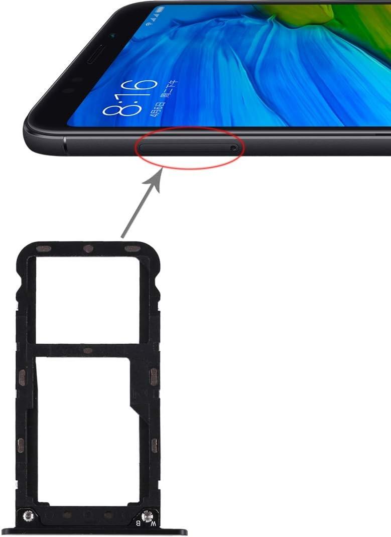 Las Partes de Repuesto Assemblerty YHM 2 Bandeja de Tarjeta SIM/Bandeja de Tarjeta Micro SD For Xiaomi Redmi 5 Plus (Negro) (Color : Black)