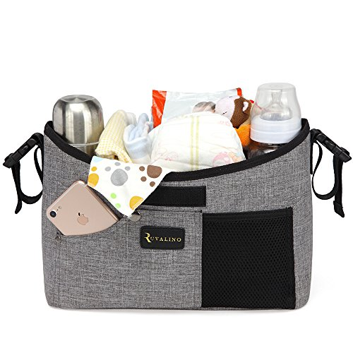 Baby Stroller Organizer Universal with Two Insulated Cup Holders and Detachable Shoulder Strap (Grey)