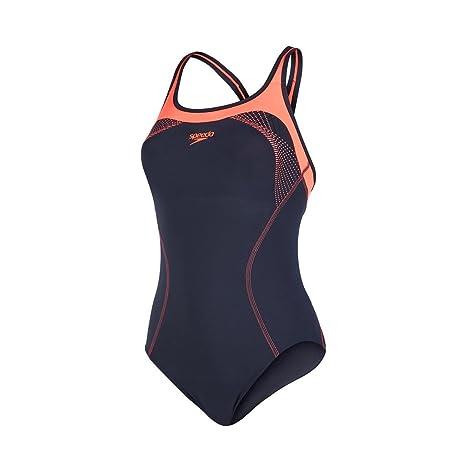 4fbbe1727be65 Speedo Women's Fit Kickback Swimsuit-Oxid Grey/Psycho Red/Black, ...