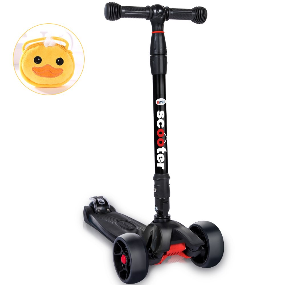 U-mii 3 wheel scooters for kids -with cute bag, widen PU flashing 3 wheels,5 adjustable height,foldable child scooter (black)