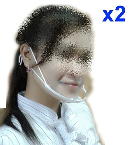 (Pack of 2) Health and Sanitay Face Mouth Plastic Mask Breathing Mouth Spit Guard Service Mask Transparent Best for Food Processing Cooking Resturant Hotel Waiters Waitress Bar Attendant Saliva (Mask Ffp3)