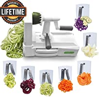 Spiralizer Ultimate Only 7-Blade Vegetable Slicer Strongest Heaviest Duty Veggie Pasta Spaghetti Maker for Healthy Low Carb/Paleo/Gluten-Free Meals With 3 Exclusive Recipe E-Books ...