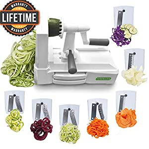 Spiralizer Ultimate Only 7-Blade Vegetable Slicer Strongest Heaviest Duty Veggie Pasta Spaghetti Maker for Healthy Low Carb/Paleo/Gluten-Free Meals With 3 Exclusive Recipe E-Books …