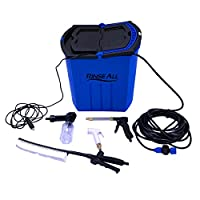 Rinse All EW10 -Self Priming Car Charger Powered -28L (over 7 Gal.) Portable High Pressure Camping Shower - Car or Pet Washer with easy Twist On Off Flow Shower Head-12.5ft Hose and Accessories