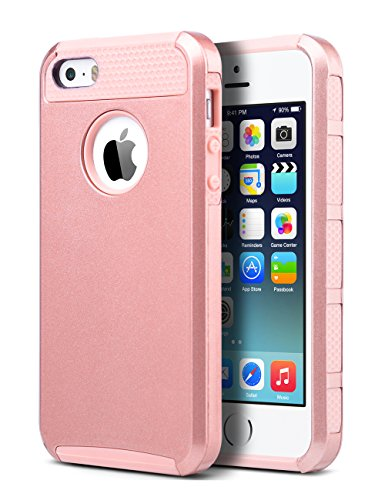 ULAK 5S Case, iPhone 5S Case, iPhone 5 Case, iPhone SE Case, Slim Fit Dual Layer Protection Case Shock Absorbing Hard Rugged Ultra Protective Back Rubber Cover with Impact Protection(Rose Gold)