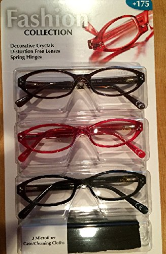 Fashion Collection Design Optics 3-Pack Reading Glasses +175
