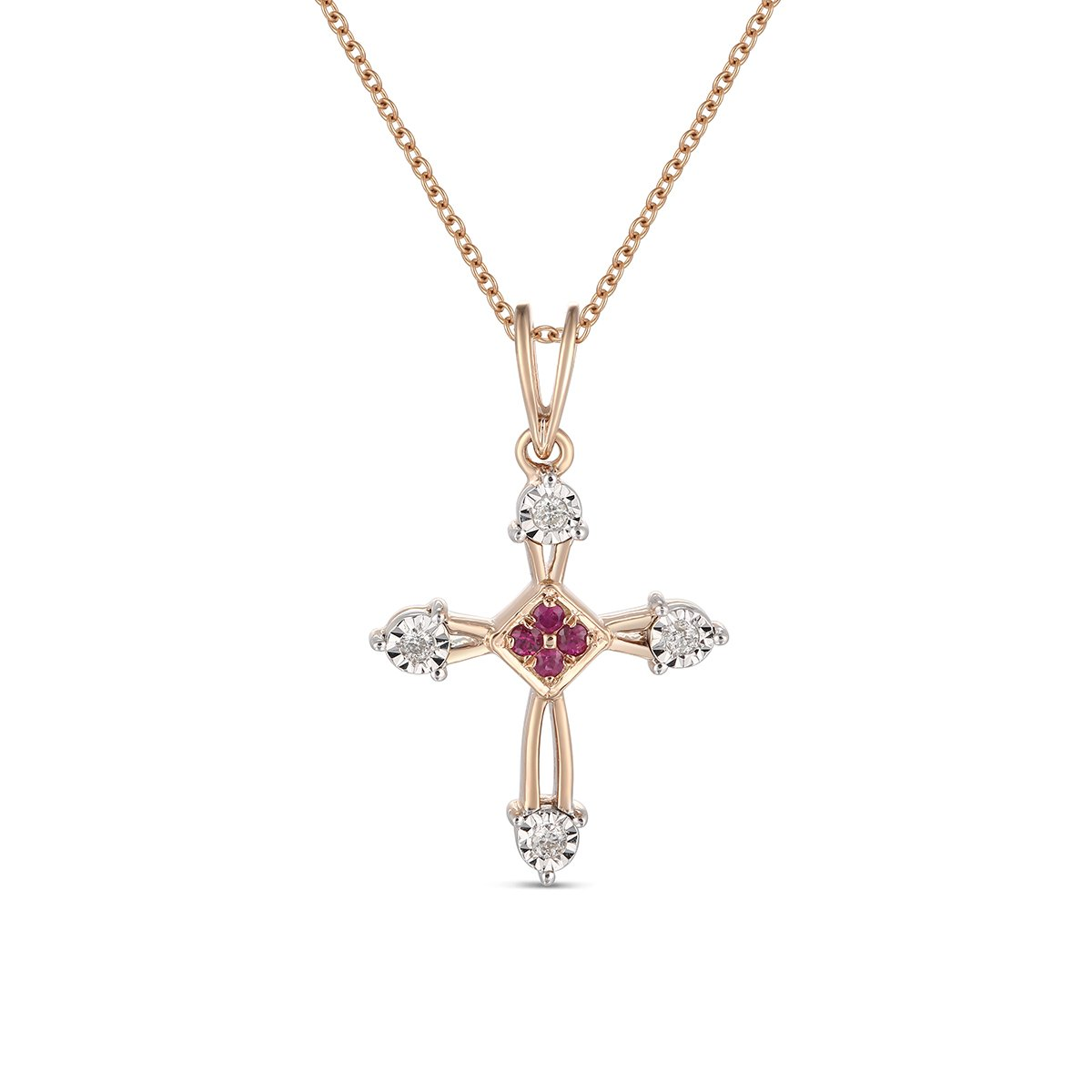 Ferhe New York Mother's Day Gift, 14K Gold Almighty Cross Pendant with Diamond & Ruby,Diamond Almighty Cross Pendant, Ruby Almighty Cross Pendant,Pendant Only- NO Chain