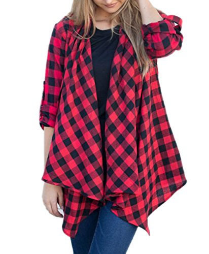 AINORS Women's Casual Plus size Lattice Lapel Plaid Tweed Irregular hem Cardigan Coat Jacket Outwear (Coat Size Plus Tweed)