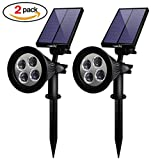 Cheap Outdoor Solar Spotlights, Naisidier 2Pack Waterproof Solar Landscape Lighting Outdoor 4 LED Adjustable Wall Lights – Garden Lawn Solar Power Lamps for Lighting Patio Deck Yard Driveway