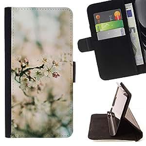 Momo Phone Case / Flip Funda de Cuero Case Cover - Printemps Blurry floraison des fleurs des plantes vertes - Samsung Galaxy Note 5 5th N9200