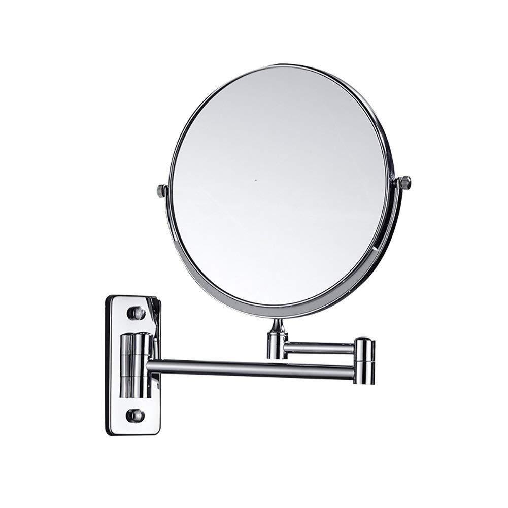 ステンレス鋼伸縮ミラー両面壁ミラー360度フリーブラケット浴室用ミラー拡張可能シルバークロームミラー   B07QR3RQN2