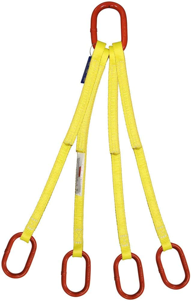 EE1-801 8 Length Vertical Capacity 1 Alloy Oblong Master Link 1 Web Width HSI One Ply 4-Leg Oblong-to-Hook Bridle Nylon Sling 6,400 Lb Hook with Safety Latch