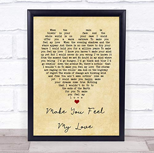 Make You Feel My Love Vintage Heart Quote Song Lyric Print
