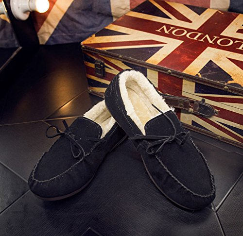 Loafer de Casual Mocassin Dooxi Hombre Zapatos Nieve Bowknot Forrado Calentar Antideslizante Zapatos Azul Invierno oscuro Planos Barco Botas wSwUvqX