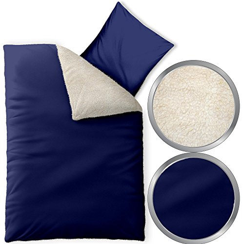 2-tlg. flauschig weiche Winter-Bettwäsche | verschiedene Größen | Lammfell-Optik, Nicki, wärmend | 155 x 220 cm CelinaTex 5000133 Fantasia Sandy | blau
