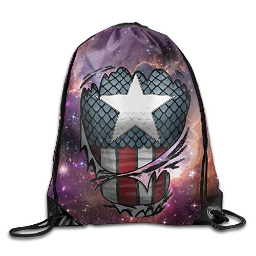 Unisex Captain Suit Drawstring Bag Drawstring Backpack Sport Bag Gym Bag 100% Polyester Material Travel Bag For Men Women