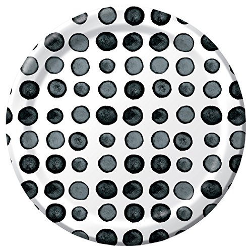 Black Licorice Vanity (Creative Converting 8 Count Dotted Licorice Round Premium Paper Luncheon Plates, Black/White, 8