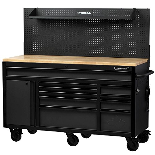 61 in. W 23 in. D 10-Drawer 1-Door Mobile Workbench with Solid Wood Top and Flip-Up Pegboard in Textured Black