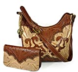 Concealed Carry Tooled Leather Hobo + Wallet, American West Annie's Secret-Cream