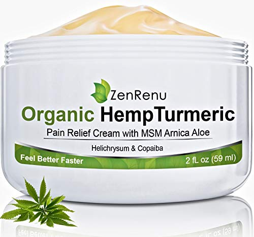 (Organic Hemp Pain Relief Cream by ZenRenu - MSM Turmeric Arnica Salve - Hemp Oil Hemp Extract for Pain Cream )