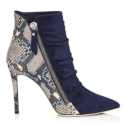 Appuntito Donna Manuale blue Coccodrillo Pompa Colore Cerniera il Caviglia Scamosciato 34 Combattere Stivali Modello 38 SYYAN FECqC